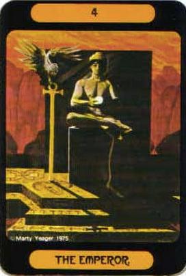 イメージ画像:タロットカード 大アルカナ 皇帝(The Emperor)ー 正位置 意味:堂々とした意志が持つ強さ。あたなこそ、あなたを導く王