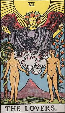 イメージ画像 タロットカード大アルカナ:LOVERS 意味 恋愛・性的魅力・相思相愛・誘惑・試練の克服
