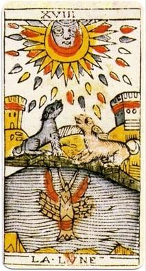 イメージ画像:タロットカード 大アルカナ 18:月(The Moon/La Lune)ー 正位置 意味:現実逃避と夢想家。ざわつきの原因を知る。